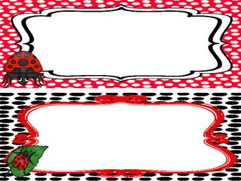 Ladybug themed Printable Name Plates. Class Accessories.
