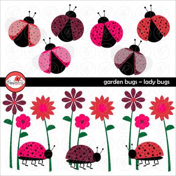 Garden Bug Ladybugs Clipart by Poppydreamz