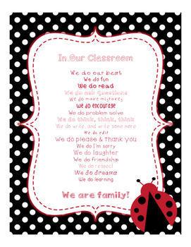 Ladybugs Decor: In Our Classroom, We Do Poster