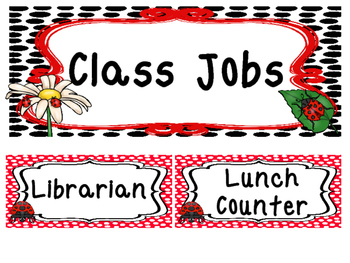 Ladybugs themed Printable Class Jobs Labels Classroom Bull