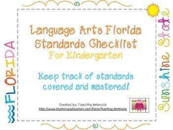 Laguage Arts Florida Standards Checklist for Kindergarten