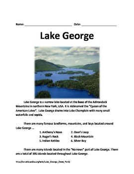Lake George - Informational Article Facts History Question