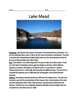 Lake Mead - USA - Informational Article - questions vocab