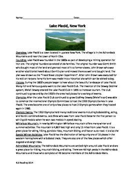 Lake Placid New York - Review Article Questions Vocabulary