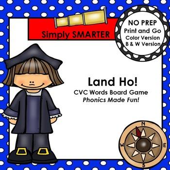 Land Ho!  Christopher Columbus CVC Words NO PREP Board Game