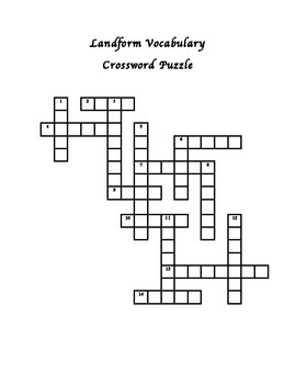 Landform Vocabulary Crossword Puzzle