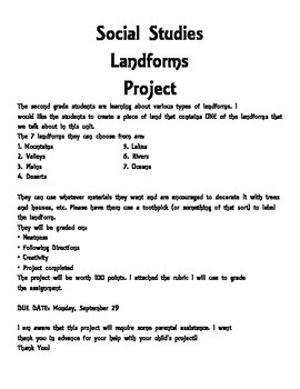 Landform project with rubric