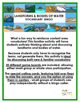 Landforms & Bodies of Water Vocabulary Bingo