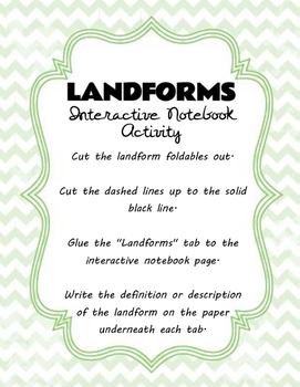 Landforms Interactive Notebook Activity