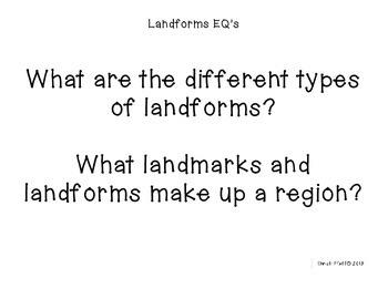 Landforms Learning Goals and Essential Questions