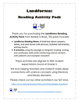 Landforms Reading Activity Pack