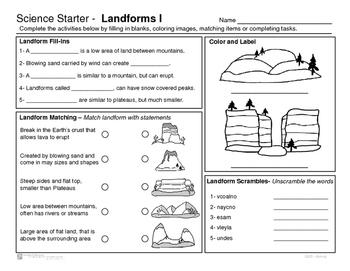 Landforms- Science Starter - review or starter activities