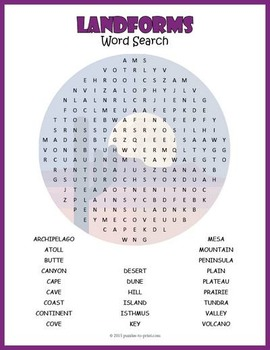 Landforms Word Search Puzzle
