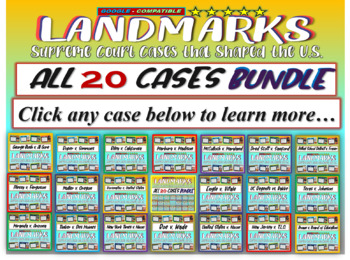 Landmark Supreme Court Cases - 20-CASE BUNDLE (PPTs, hando