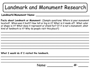 Landmark and Monument Research - Social Studies,Reading Wo