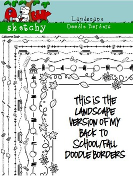 Landscape Doodle Borders / Back to School Theme/ Fall - Ha