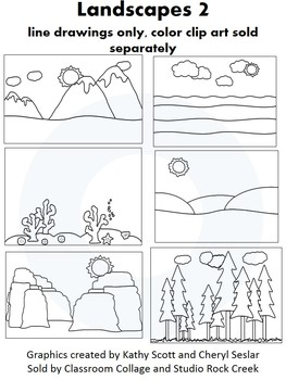 Landscapes 2 Clip Art - Black and white line drawings - pe