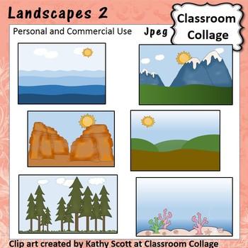 Landscapes 2 Clip Art Color pers & comm ocean fields mount