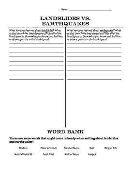Landslides vs. Earthquakes T-Chart