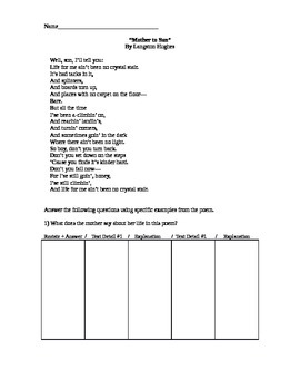 Langston Hughes Mother to Son Short Response Practice Text