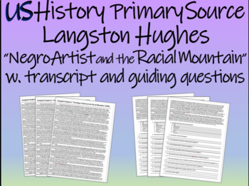 "Langston Hughes ""Negro Artist and the Racial Mountain"" w t"