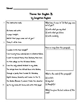 "Langston Hughes ""Theme for English B"""