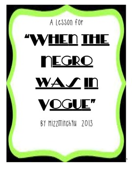 """""""When the Negro Was in Vogue"""" by Langston Hughes"""