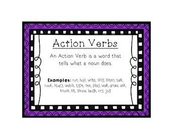 Language Arts Action Verbs Task Cards Center