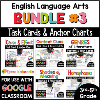 Language Arts Task Card and Anchor Chart MEGA BUNDLE for 3