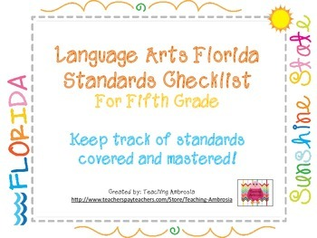 Language Arts Florida Standards Checklist for Fifth Grade