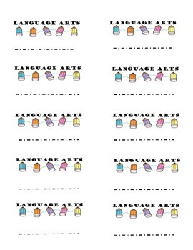 Language Arts Folder Labels