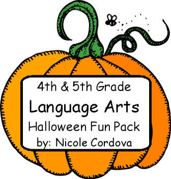 4th/5th Grade Language Arts Halloween Pumpkin Pack