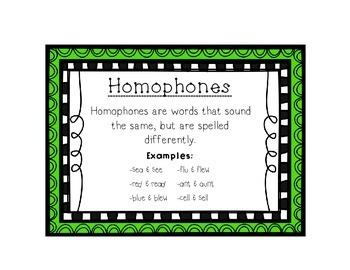 Language Arts Homophones Task Cards Center