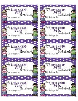 Language Arts Interactive Notebook Labels