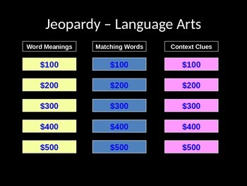 Language Arts Jeopardy Game