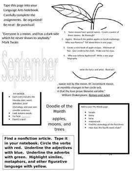 Language Arts Notebook - September