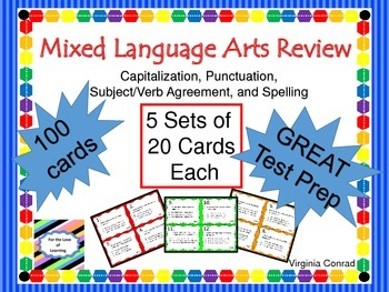 Language Arts Review Task Cards---4 Different Skills---100 Cards