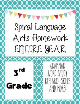 Language Arts Spiral Homework 3rd Grade All year