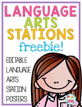 Language Arts Station Posters Freebie!