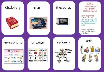 Language Arts Vocabulary MATCHING GAME/word to Def. SORT- set 1
