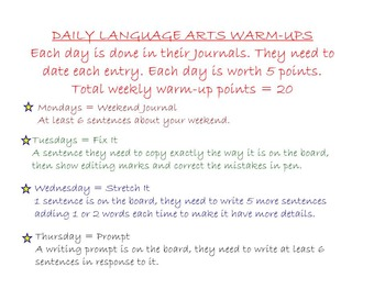 Language Arts Warm Ups