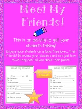 Language Building Activity to engage students with their peers!