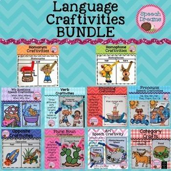 Language Craftivities BUNDLE {Opposites Nouns Verbs Catego