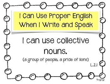 "Language ""I Can.."" Statements for 2nd Grade"