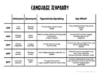 Language Jeopardy