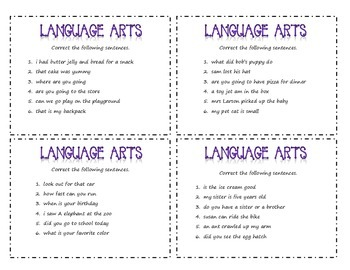 Language Task Cards
