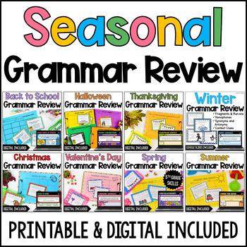 Language Task Cards Bundle: Seasonal & Holiday  {4th and 5