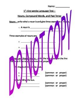 Language Test - common and proper nouns, compound words, a