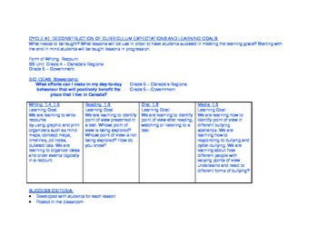 Unit Plan: Cycle #1 Recount Writing & Point of View