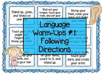 Language Warm-Ups #1: Following Directions for Speech/Lang